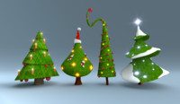 christmas trees pack 3d blend