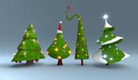 christmas trees pack 3d blend