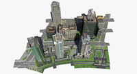 3d model city block buildings