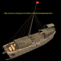 3d model chinese junk fishing boat
