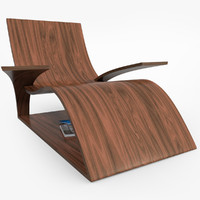 3d realistic wooden lounger model