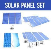 3d solar panel set model