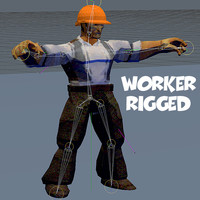 3d model rigged man worker