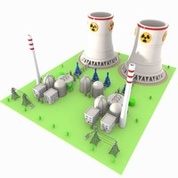 3d cartoon nuclear power