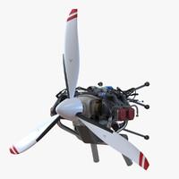 3d model piston aircraft engine ulpower