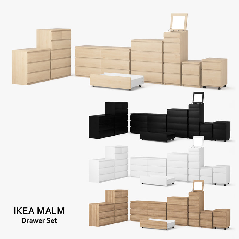 3d model ikea malm drawer set. Black Bedroom Furniture Sets. Home Design Ideas