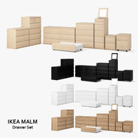 3d model ikea malm drawer set