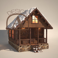 3d model of winter chalet