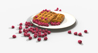 3ds max realistic waffles raspberries