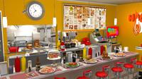 x restaurant diner stylized