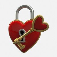 heart lock key 3d ma