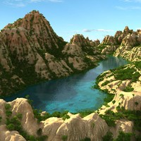 3d model scene mountain lake landscape