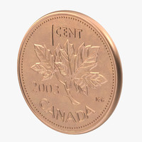 3d 1 canadian coin model