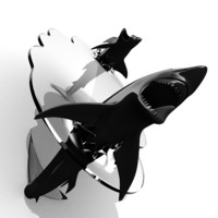 3d shark glass table model