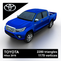 3d toyota hilux 2016 pickup truck model
