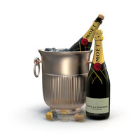 champagne ice bucket 3d model