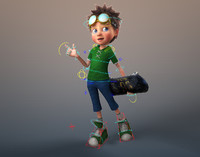 maya cartoon boy rigged
