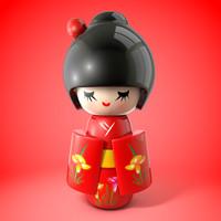 japanese doll japan 3d model