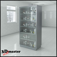 preparation cabinet hinged doors 3d max