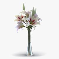 3d white lily vase