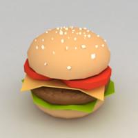 3d model hamburger minimalistic
