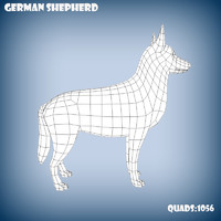 3d model base mesh german shepherd