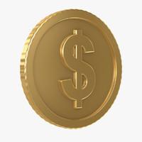 3d dollar coin model