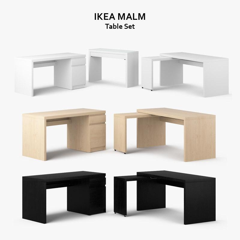 3d model ikea malm table set for Dressing ikea 3d