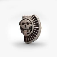 aztec stone disk skull 3d model