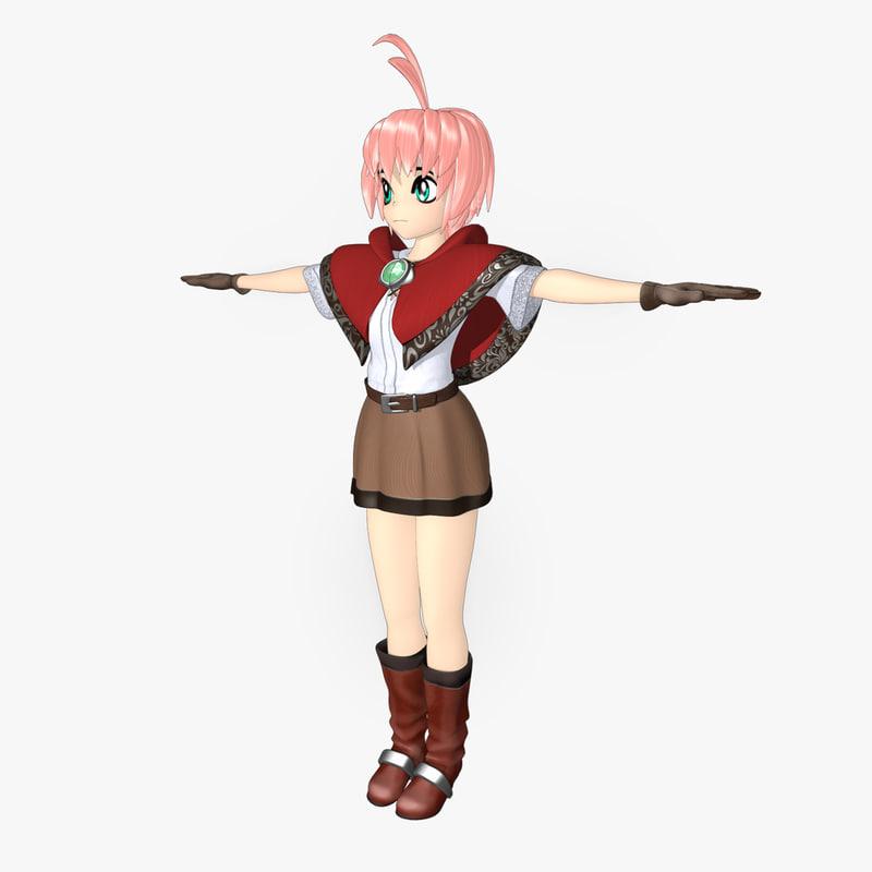 3d girl anime toon model