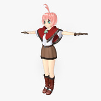 3d girl anime toon model