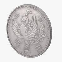 3d 100 yen coin