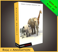 3d pack african animals model