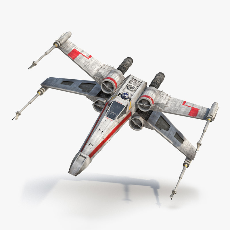 Star Wars X-Wing Starfighter and R2D2 Red 3d models 00.jpg