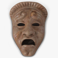 3d model of theatre tragedy mask red