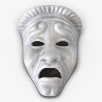 3ds max theatre tragedy mask white marble