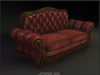 Antique Sofa (low poly game model)