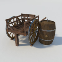 Old two wheeled cart with barrel