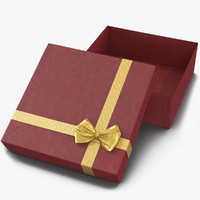 giftbox 4 red 3d obj