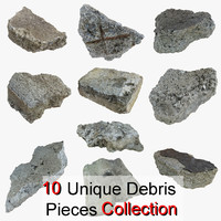 3d model debris pieces realistic
