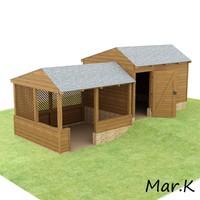 3d model of wooden shed pergola