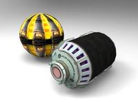 max sci-fi grenade modeled