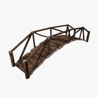 3d model of wooden plank bridge