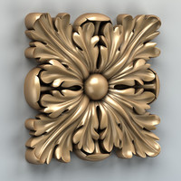 carved square rosette 3d obj