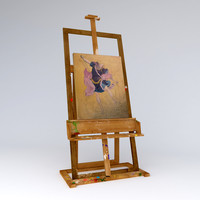 easel painter dirty with  picture