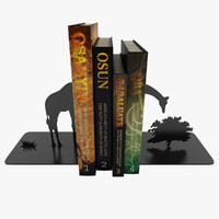 3d model giraffe bookend books