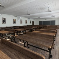 3d vintage lecture auditorium model
