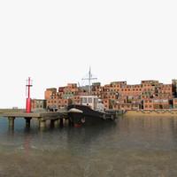 fishing village harbor tugboat 3d 3ds