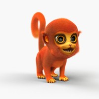3ds max cute cartoon monkey fur