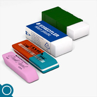 erasers rubber stationery 3d model